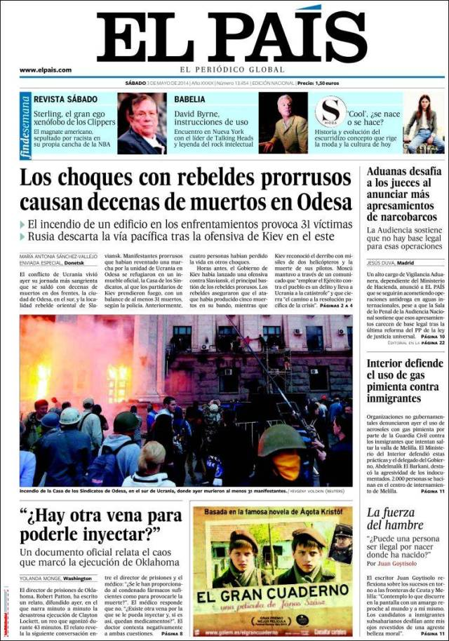 portada el pais 3 mayo 2014